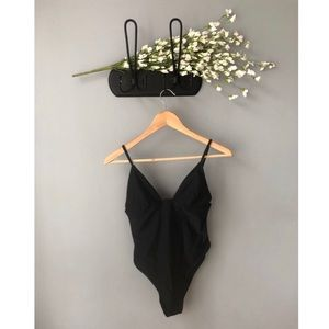 All black one piece bathing suit